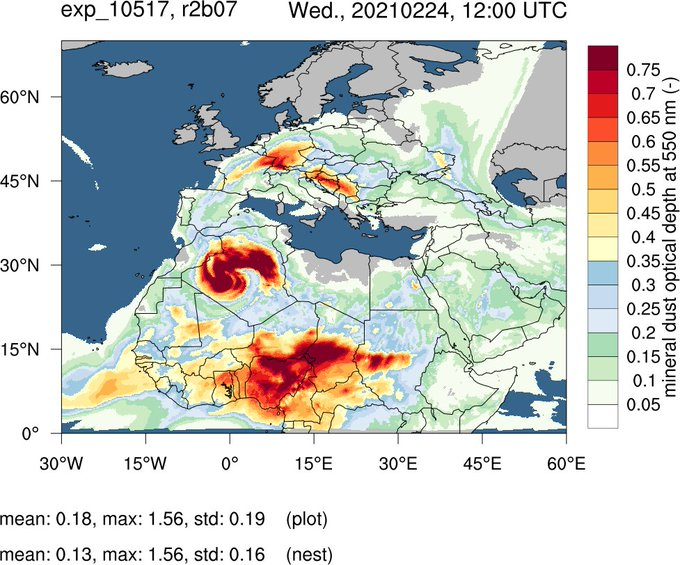 More than 14 million tonnes of #SaharaDust are circulating in the atmosphere above North Africa, North Atlantic and Europe today, according to calculations from @DWD_presse
