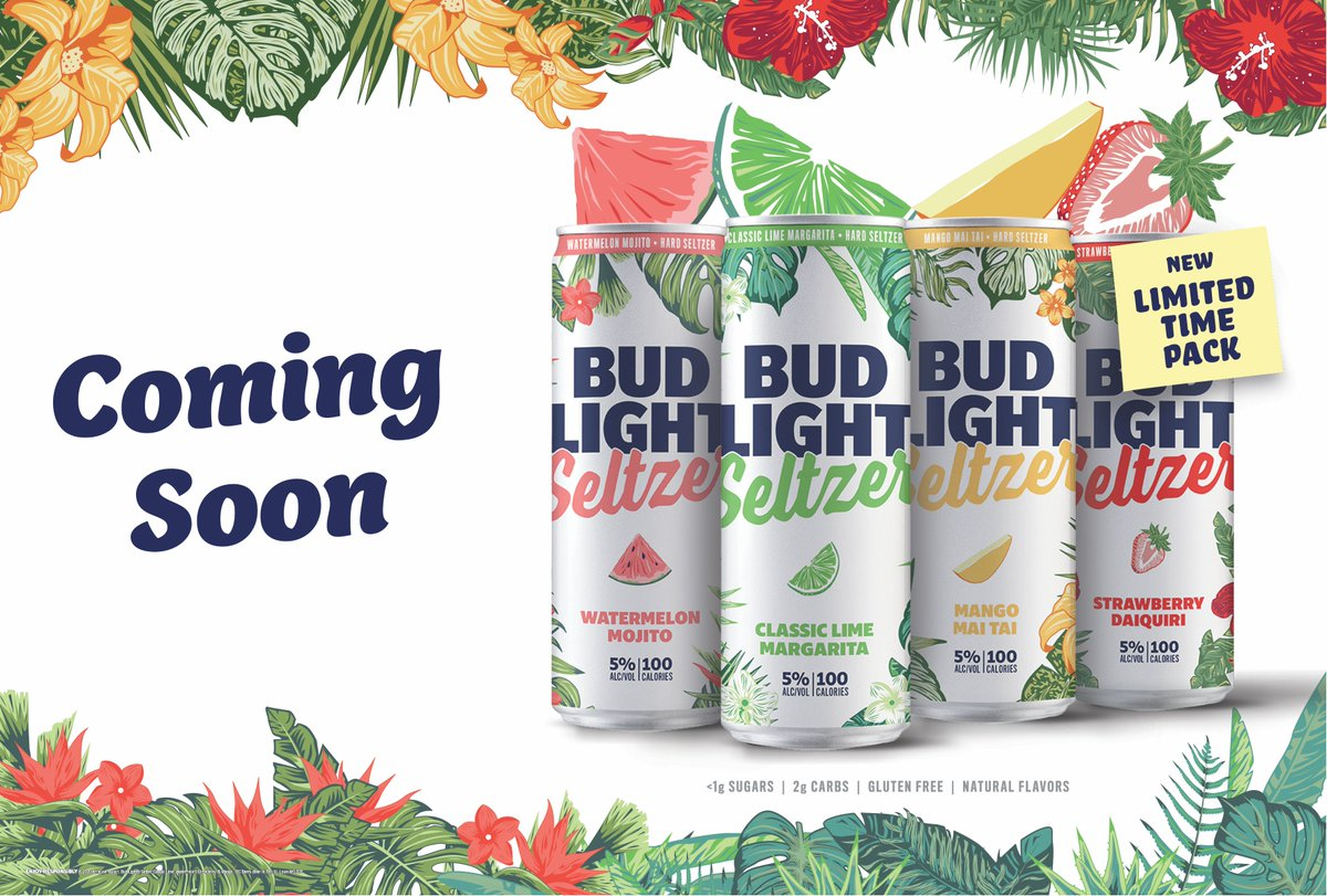 Sneak peak of Bud Light Seltzer's Out of Office new variety packs coming soon and we can't wait!   🍉 Watermelon Mojito 🍈 Classic Lime Margarita 🥭 Mango Mai Tai 🍓 Strawberry Daiquiri . . . #OutOfOffice #BudLightSeltzer #SeltzerSZN  #budlight #seltzer