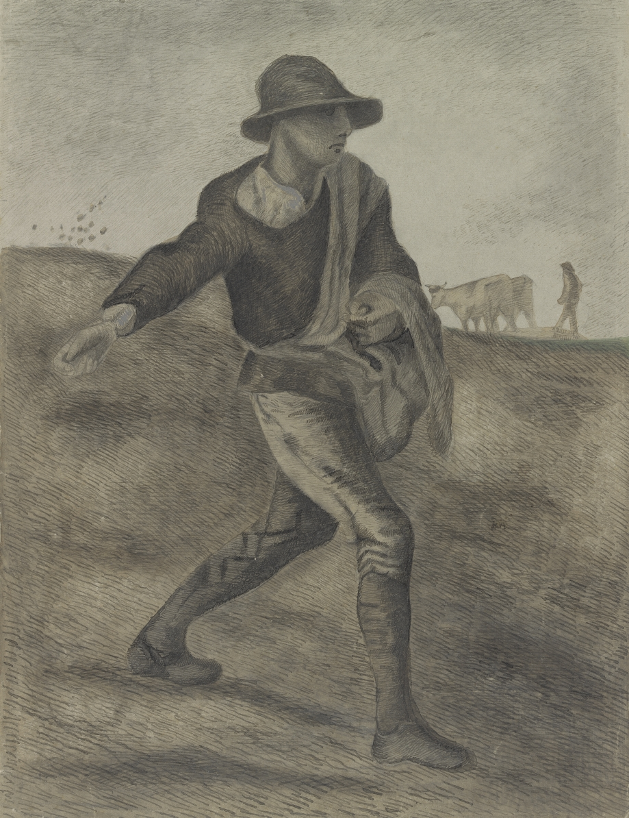 When Vincent was starting out as an artist, he often copied pictures of works by other artists. It's easy to see that Vincent still lacked experience when he made this drawing. See how the sower has thrown his seeds backwards? In Millet's painting, those were not seeds, but birds https://t.co/dTVAyBfesX