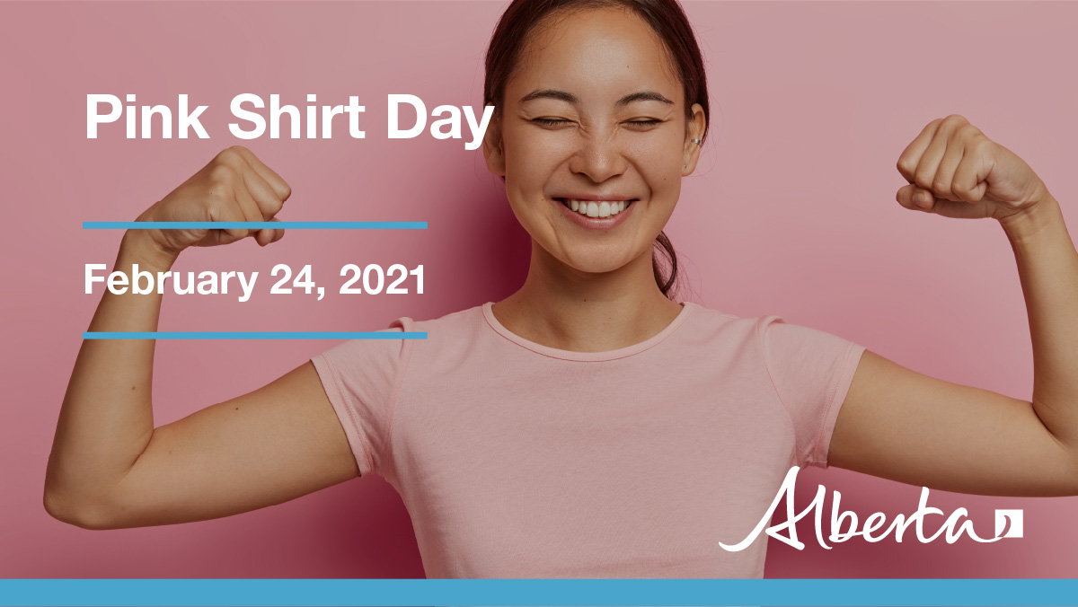Started by two Nova Scotia teens to show solidarity for a bullied student, #PinkShirtDay has become a national movement. Join in today, wear pink, and take a stand against bullying: alberta.ca/pink-shirt-day…
