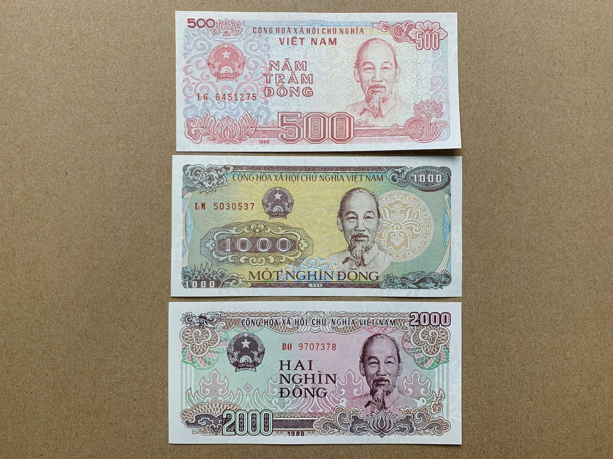 my #etsy shop: 3 pcs Vietnamese Dong Banknote Set. Ho Chi Minh Currency. Asian Notes. Billetes Asia. Vietnam Electric Lines, Dockside View.  #banknote #billetes #currency #bills #pesos #dollars #coins #collectibles #vintage