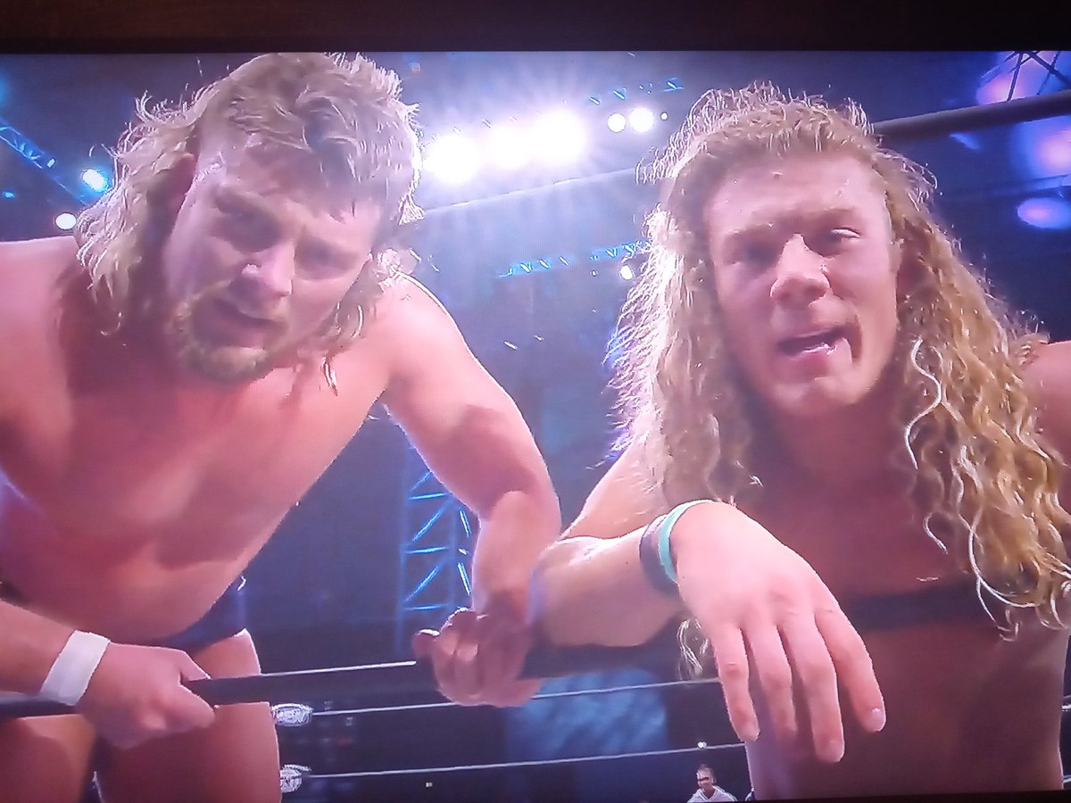 Brian: Is that Clarence Pryor? Griff: Yeah! It's him! Brian: Should we get him to join us? BOTH: TOTALLY! HE'S HOT!  @FlyinBrianJr & @griffgarrison1 aka Varsity Blonds got a big victory at #AEWDark last night & I'm glad I watched it for them. See them on #AEWDynamite TONIGHT!
