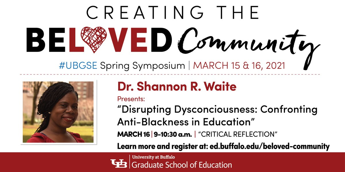 .@ShannonRWaite5 from @FordhamNYC presents on confronting anti-blackness in education: Join @UBGSE's #BelovedCommunity spring symposium March 16. Register at . #UBuffalo #OneGSE #CriticalReflection #AcademicsForBlackLives #EquityInEducation