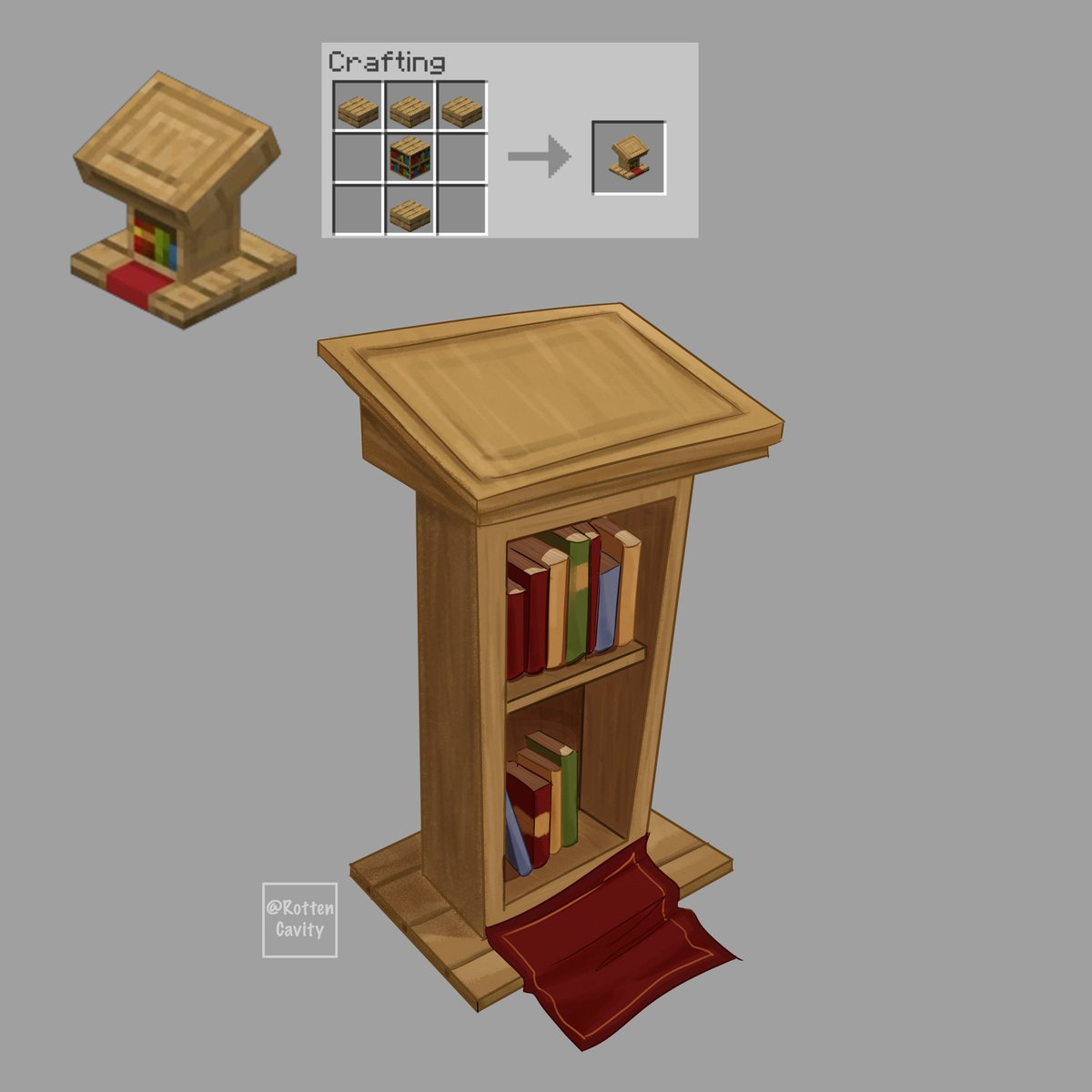 Drawing a realistic minecraft block every day. Day 12, Lectern retweets are appreciated! #minecraft #minecraftfanart #minecraftart #mc #mcfanart