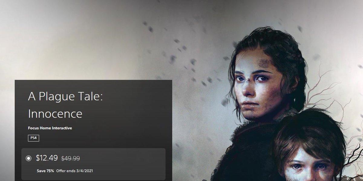 A Plague Tale: Innocence (PS4) $12.49 via PSN. 2