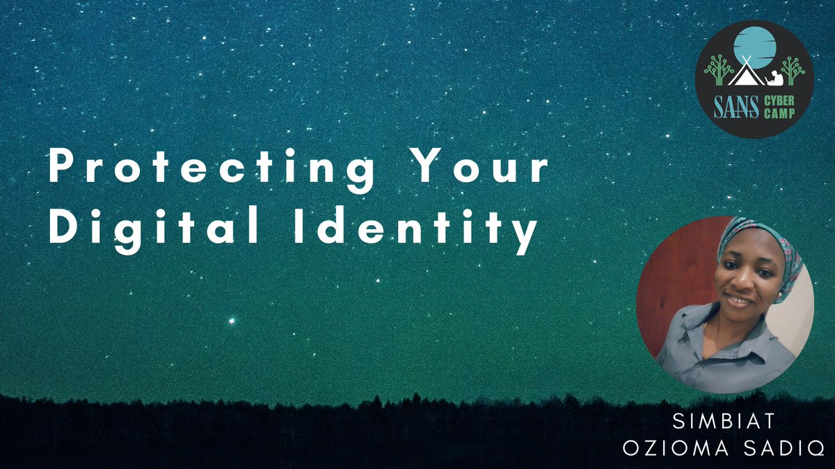 In her #SANSCyberCamp talk, @Xymbiz shared how to protect your digital identity and why it's important.  #newtocybersecurity #digitalidentity #newtoinfosec