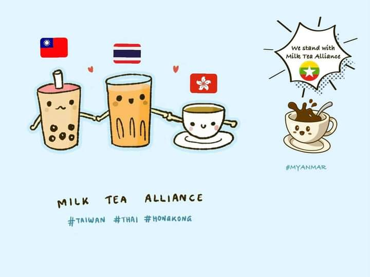 Yes. It's time to rise up. We all, Taiwan, Thailand, Hongkong and Myanmar can unite and fight together against the dictatorships to get freedom of speech and human rights. #WhatsHappeningInMyanmar  #milkteaallience  #Feb24Coup https://t.co/nmpQwfkwRQ https://t.co/lWxj5rHCLy