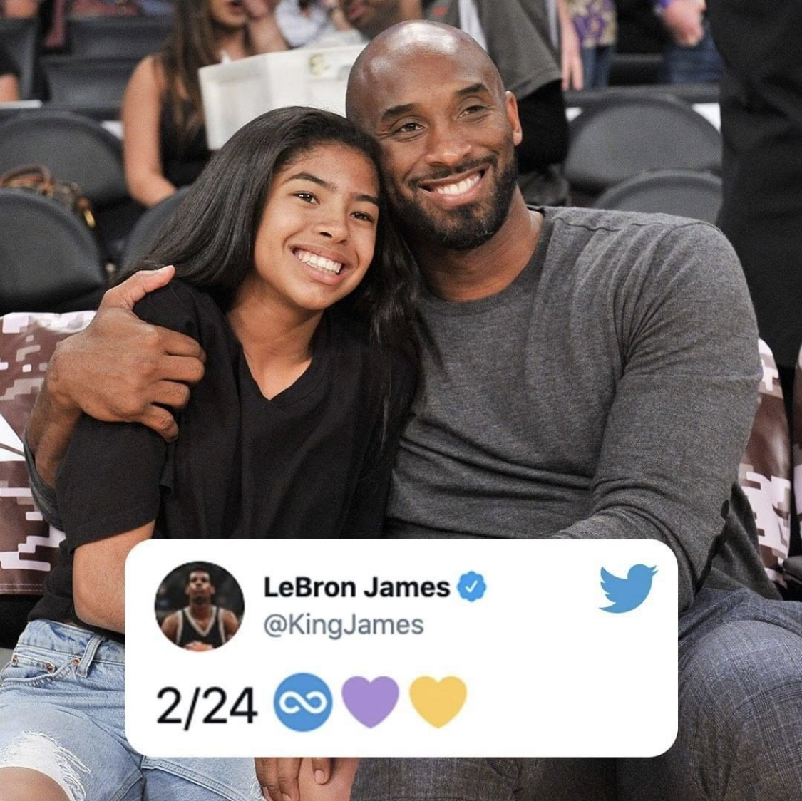 Replying to @ESPNLosAngeles: 2/24  One year ago today, we came together to celebrate the life of Kobe and Gigi Bryant 💜💛