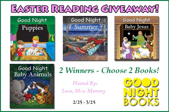 2 WINNER #GIVEAWAY! #Winners choice of 2 #books from @GoodNightBooks! Choice of #BabyAnimals, #Summer, #BabyJesus, and #Puppies! #Kids #Book GIVEAWAY! #Contest #WIN #readbooks #educatekids #toddler #goodnightbooks @Love_MrsMommy