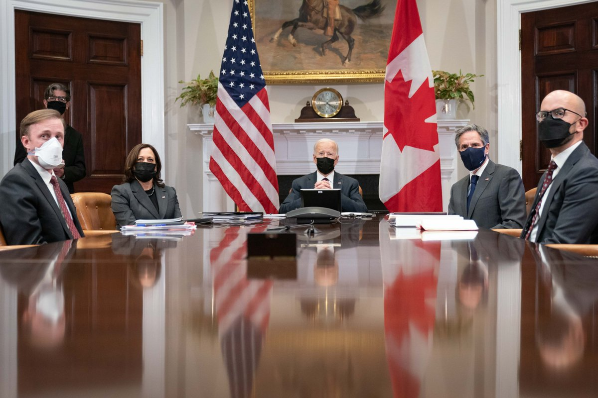 Yesterday, @POTUS and I met with Prime Minister @JustinTrudeau to discuss our close partnership. We look forward to working closely together to combat COVID-19, fight climate change, advance diversity and inclusion, and prioritize our security and defense.