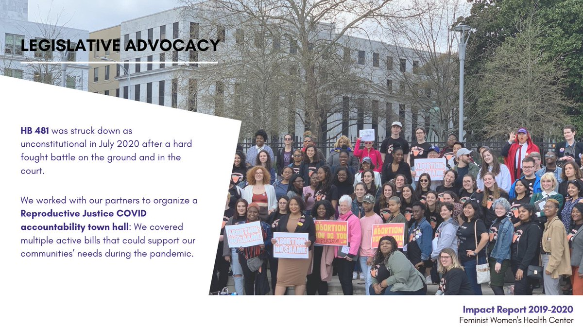 Our legislative advocacy work over the last 2 yrs was hugely successful.  We combated the 2019 abortion ban and together with our amazing partners, we waged a multi-faceted campaign mobilizing advocates at an unprecedented scale:  #reproductivejustice
