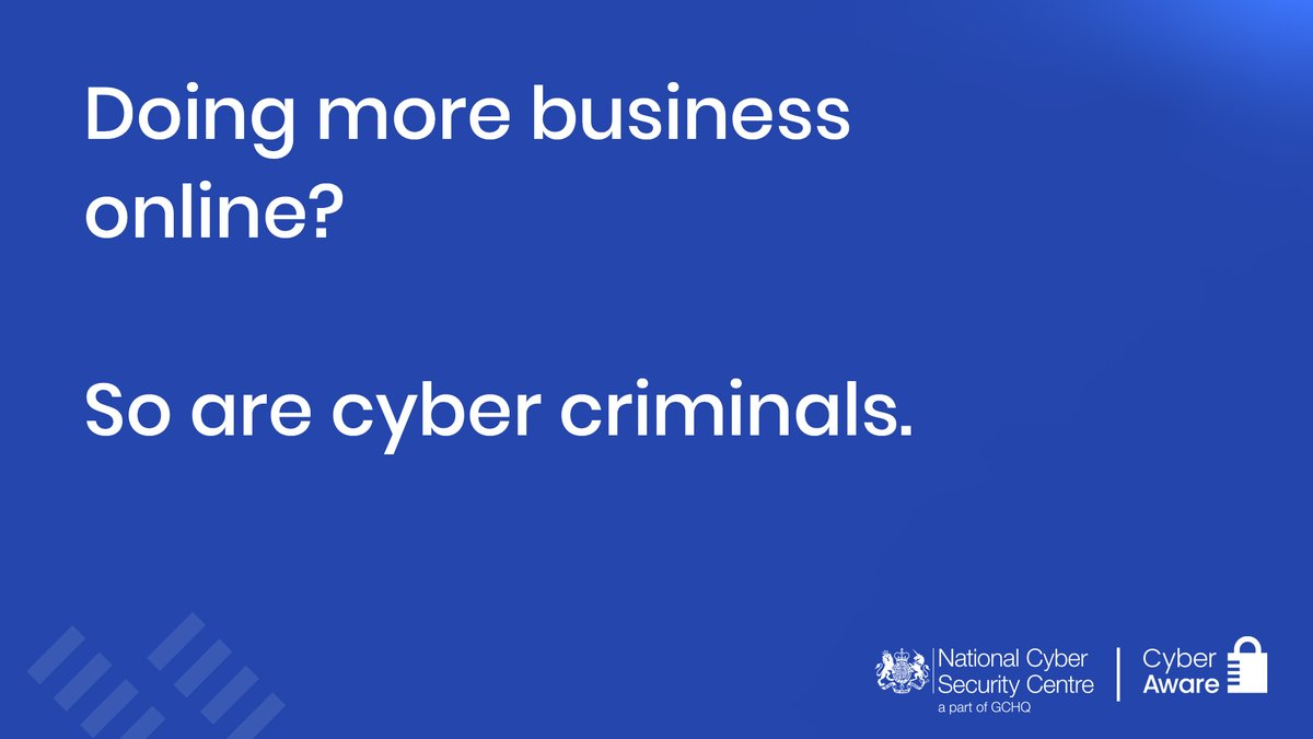Doing more business online? So are cyber criminals.  Find out how you can protect your business with #CyberAware's six practical steps: https://t.co/p6c4Nk3Rzu https://t.co/mPHfcRYv0K
