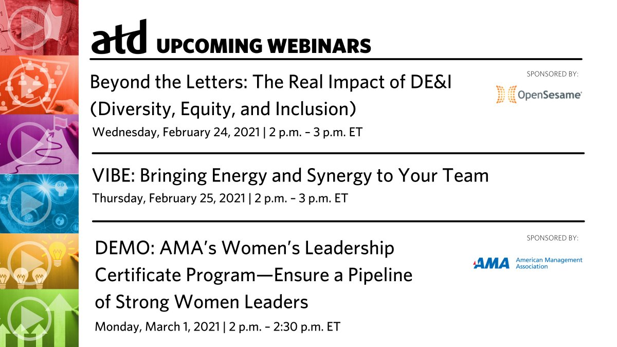 #RT @atd: Sharpen your #skills!   Sign up for an upcoming #ATD webinar, including one today on the real impact of #DEI efforts: