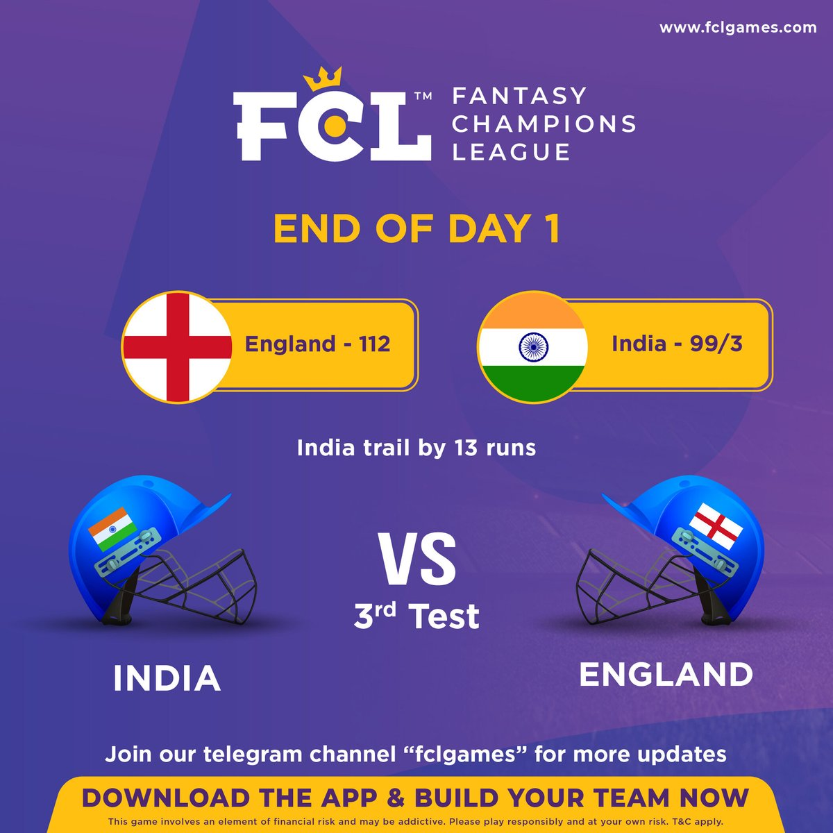 India Vs England - 3rd Test Match  End of day 1  Engalnd - 112 India - 99/3 (India trail by 13 runs)  #fcl #fclupdates #cricketupdate #indiavsengland #downloadfcl #playfcl #fclapp #downloadnow #cricketlovers