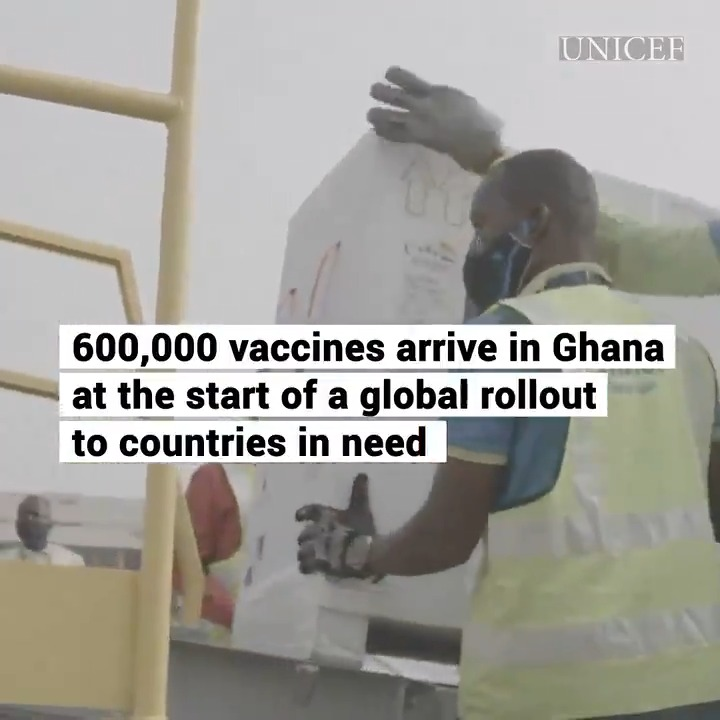 Good health news!  Ghana has become the first country to receive #COVID19 vaccines through COVAX, a UN-led initiative to ensure equitable vaccine access for everyone.  More on this historic step to end the pandemic.