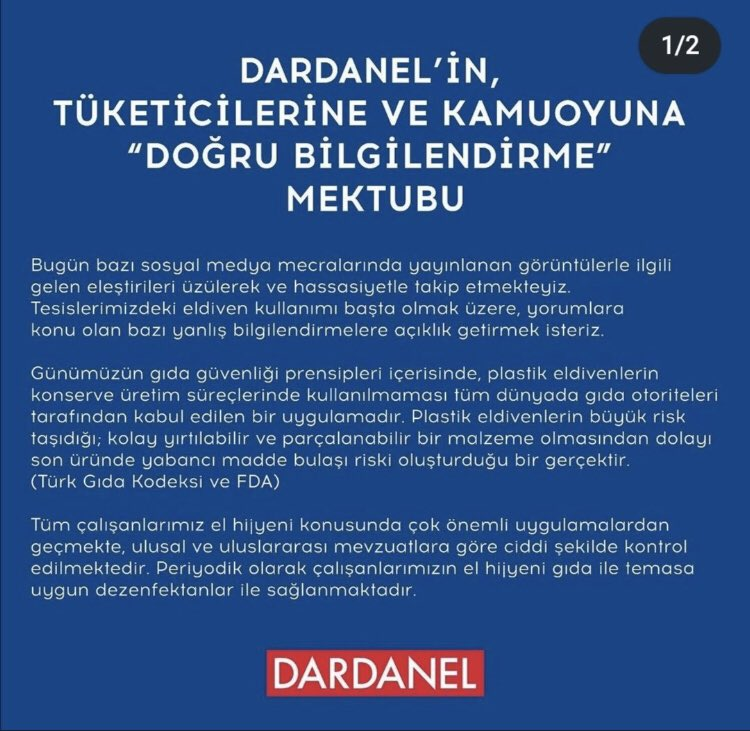 Dardanel'in bugün birçok yerde karşımıza çıkan videosunun ardından firma konuya açıklık getirdi! (Videoda gıdaların el ile konservelendiğine dair görüntüler bulunuyordu.) #dardanel https://t.co/hlI8yyf0or