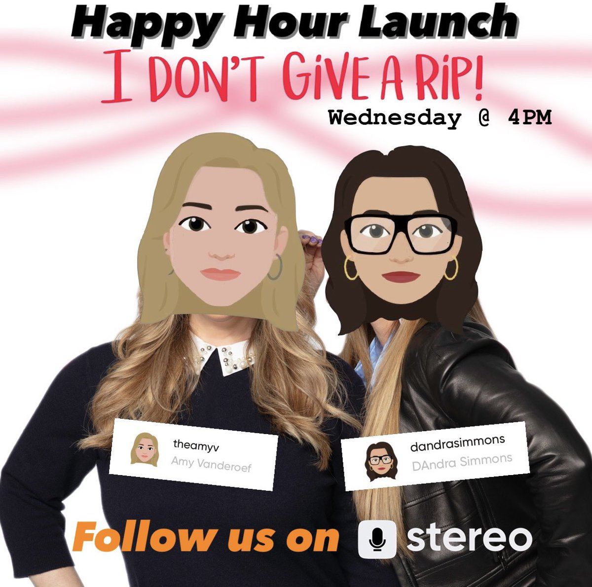 #RHOD fans!! Join @dandrasimmons and me LIVE today at 4pm for the HAPPIEST of happy hours with the #IDontGiveARipPodcast on @app_stereo! 🔉 Hangout with us & ask questions 🤩  🤗