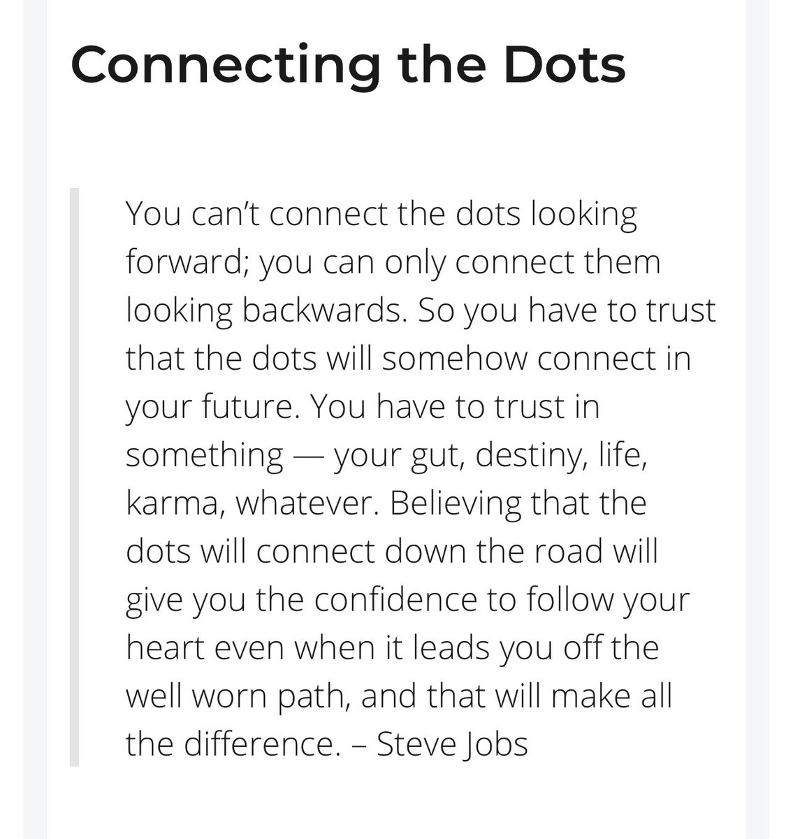 Thinking about this excerpt from that profound Steve Jobs commencement speech. I find myself always coming back to various parts of that speech at important points in my life.   https://t.co/QKExoNMI5k https://t.co/WTKaTOilxO