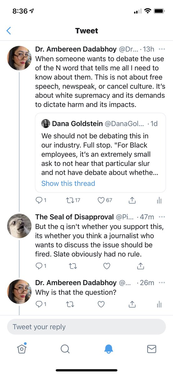 """Sea lion in the morning, out here defending free speech against its """"chilling suppression"""" by those who object to hearing or reading the N word at work. Not the flex he thinks this is. https://t.co/OxPSlrb6Ku"""