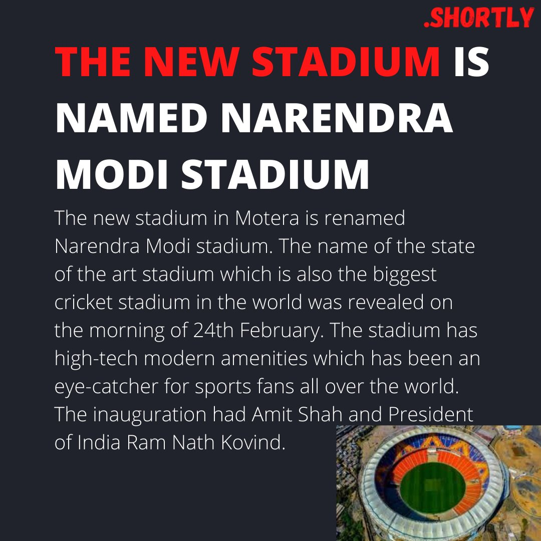 The new state of the art stadium in Ahmedabad is named Narendra Modi stadium.  #narendramodi #narendramodistadium #motera #ahmedabad #amitshah #ramnathkovind #cricket #innaugration #biggeststadiumintheworld #indvseng #indiavsengland #viratkohli #sportsnews #shortlyindia