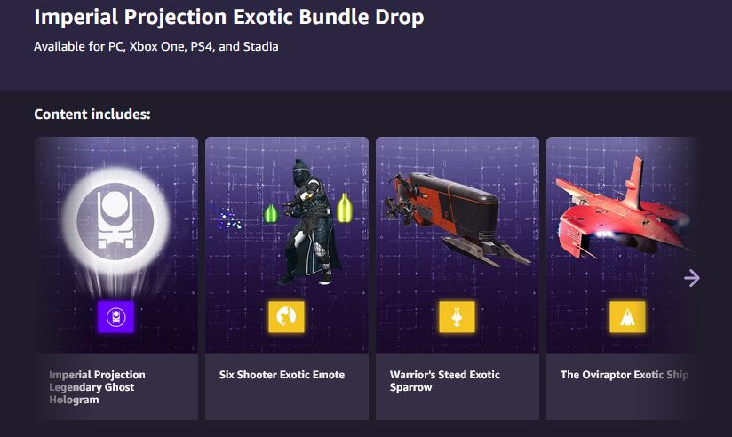 Destiny 2 Imperial Projection Exotic Bundle Drop is Free via Prime Gaming. 2