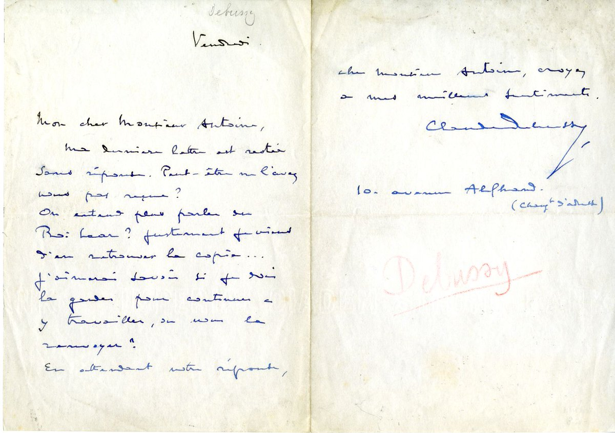 #RT @zsrspecial: Today we're featuring a letter signed by French composer Claude Debussy, from the Joseph E. Smith Music Manuscript Collection. This collection contains hundreds of signatures from famous musicians and composers! Check it out!  …