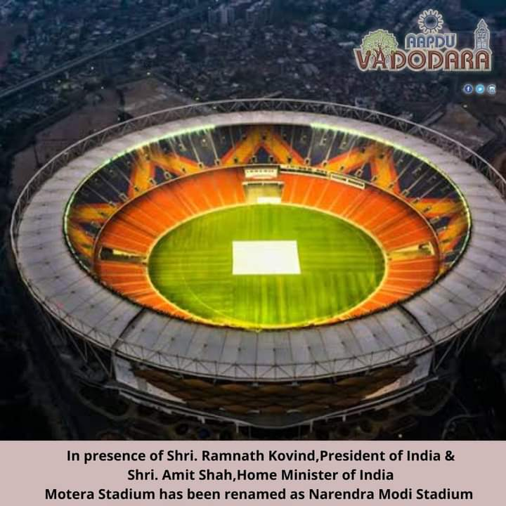 Today's It's Very happy and proud moment for us that the  #LargestCricketStadium of the world has been renamed in the name of Great leader of Country Shri Pm Modi ji . Keep doing Modi ji 🇮🇳🇮🇳🇮🇳 #NarrendraModiStadium  #IndiaWithModi  #IndiavsEngland