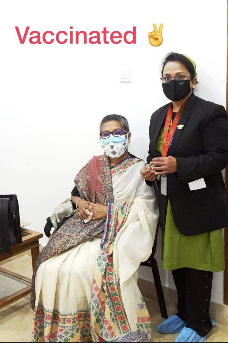 SheikhRehana, daughter of #Bangabandhu #SheikhMujiburRahman and younger sister of Prime Minister #SheikhHasina, received the first dose of #Covid19 vaccine today #Bangladesh ✌️✌️