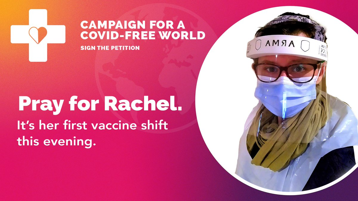 test Twitter Media - Tonight is Rachel's first shift as a volunteer vaccinator. 💪  Please pray for her protection. Pray for her also as she continues to front BMS' Campaign for a Covid-free world, fighting for a fair vaccine distribution across the globe.  Find out more here: https://t.co/YBTbYw6cqF https://t.co/cgf5unVsXt