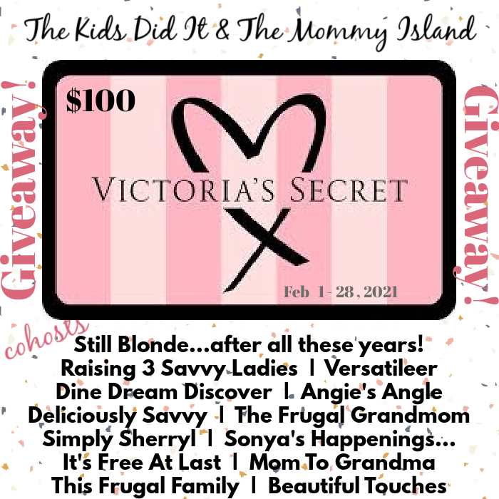GIVEAWAY - $100. Victoria Secret Gift Card Giveaway! Treat yourself or someone else. Someone has to WIN it! It could be you!#entertowin #win #valentines #Sweepstakes #giveaway #contest #GiftCard #love #beauty