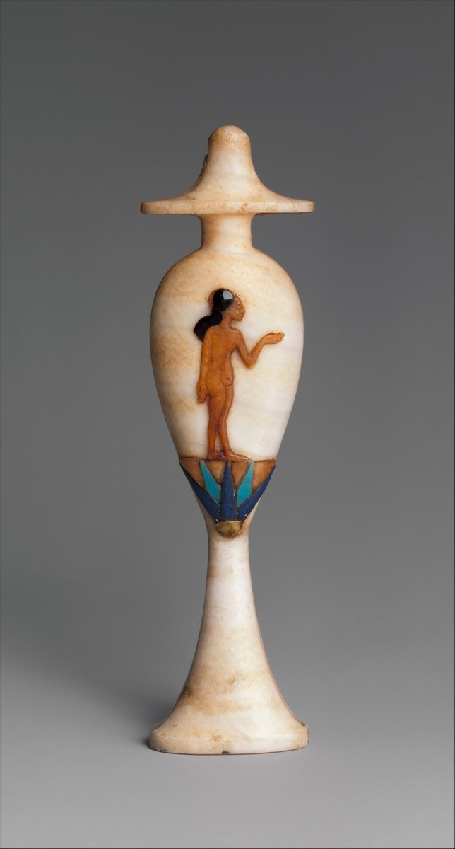 The use of odorous substances and cosmetics as embellishment of the body must have arisen at the beginning of civilization,initially with a religious and ritual character and subsequently as a hygienic and voluptuous satisfaction. #archaeology #beauty Pic @metmuseum  THREAD 1/7