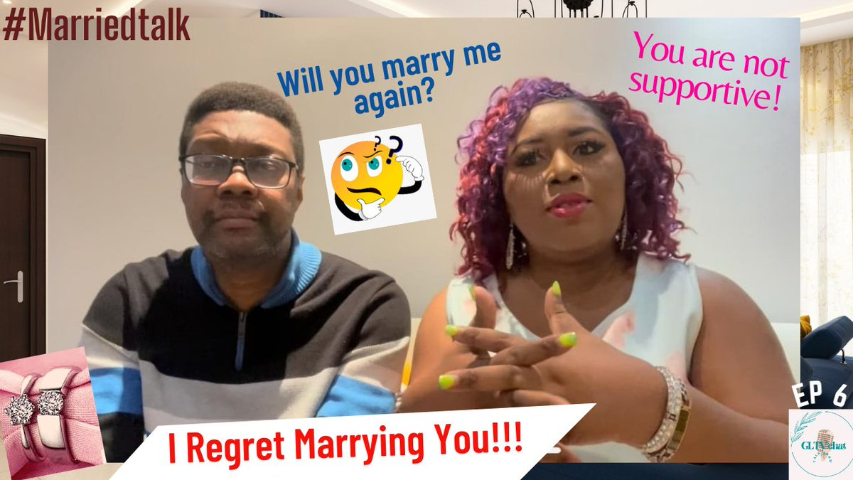 I regret marrying you! Ep 6 is out now on #Gltvchat on Youtube! Drop a comment. @Marriedtalk #chatshow #marriageadvice #candidtalk #marriedlife #weddingtips #weddingmoments #marriagetips #MarriedAtFirstSight #rt
