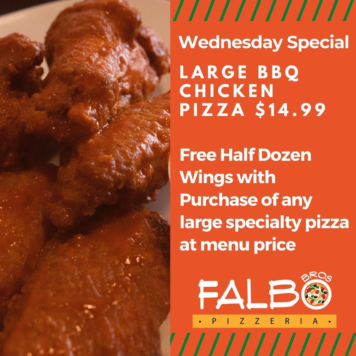 Wing Wednesdays! Snag some free wings with your purchase of any large specialty pizza at menu price every Wednesday at Falbos Coralville!  #Falbos #wings #Wednesday #pizza #delivery #Coralville #delicious #food