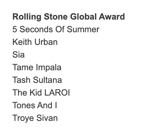 .@5SOS have been nominated for the Rolling Stone Global Award! Read about it here: radioinfo.com.au/news/ben-liam-…