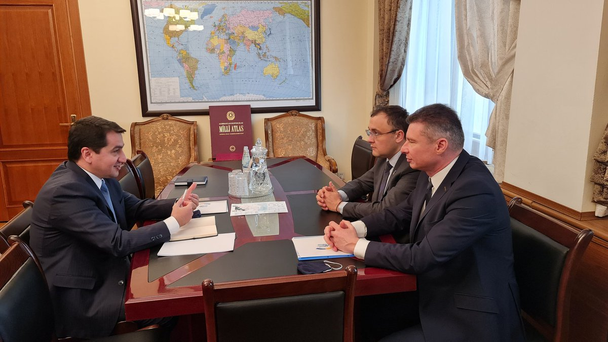 Today we had fruitful exchange of views with Deputy Foreign Minister of @Ukraine @VasylBodnar. We reviewed agenda of bilateral ties and discussed regional issues of mutual interest. @Azerbaijan and @Ukraine enjoy traditional friendship and mutually beneficial cooperation.