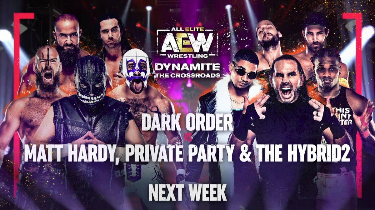 It's time to restore some order this Wednesday, as Dark Order take on Matt Hardy, Private Party & The Hybrid2 in a HUGE 10-man tag-team match! Get your tickets at  or watch LIVE at 8/7c on @TNTDrama.