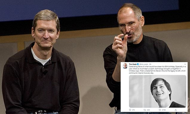 Apple CEO Tim Cook wishes the late Steve Jobs a happy 66th birthday in a message
