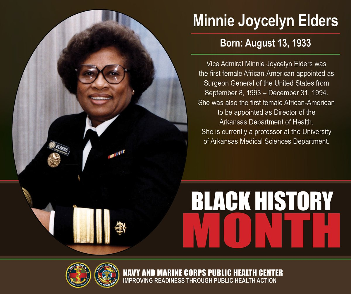 Today's #BlackHistoryMonth medical professional highlight features Dr. Minnie Joycelyn Elders! The former Surgeon General of the United States was the first female African-American appointed to the position. #MHSBHM #NMCPHC #BlackHistory #FridayMotivation