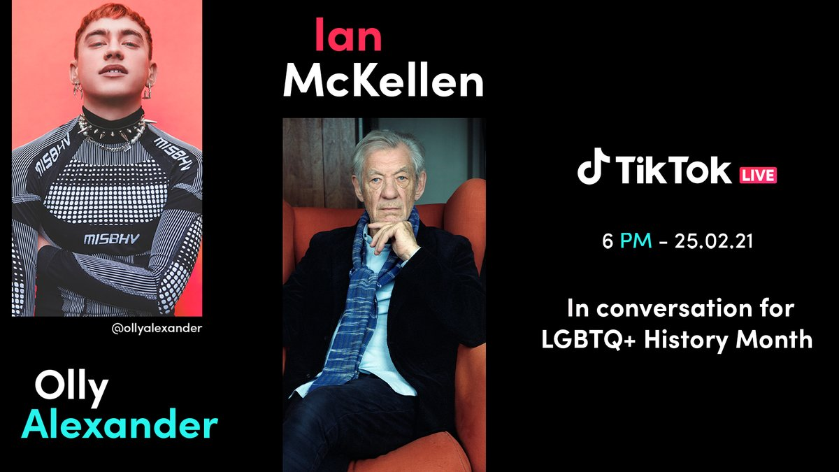 hello !! i'm going LIVE this on @tiktok_uk today at 6pm (GMT) with the very legendary @IanMcKellen for a conversation about LGBTQ+ history month, It's A Sin and some of the history of HIV and AIDS. Please come join us!!! I'm so excited to chat with Ian 🥺💕✨