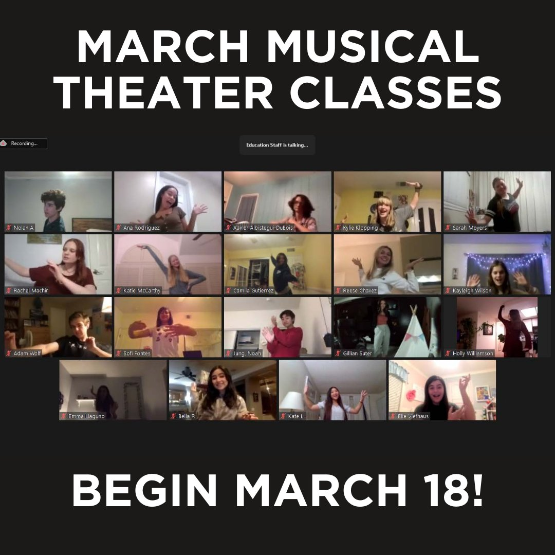 🎭Musical Theater classes start on March 18! This five-class virtual series for ages 9 - 18 welcomes students of all experience levels to be coached in musical theater performance, acting, and dance while connecting with others with the same interests!  https://t.co/YQrTtu6rUz https://t.co/Qfhl0EPGSG