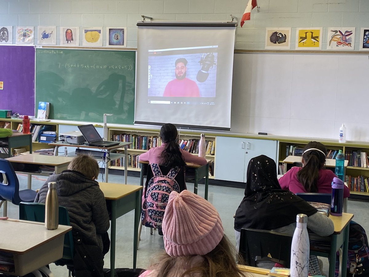 TY @lifeaswali for virtually visiting all of our gr. 3-6 classes today to talk about helping 'hurt people'. #pinkshirtday