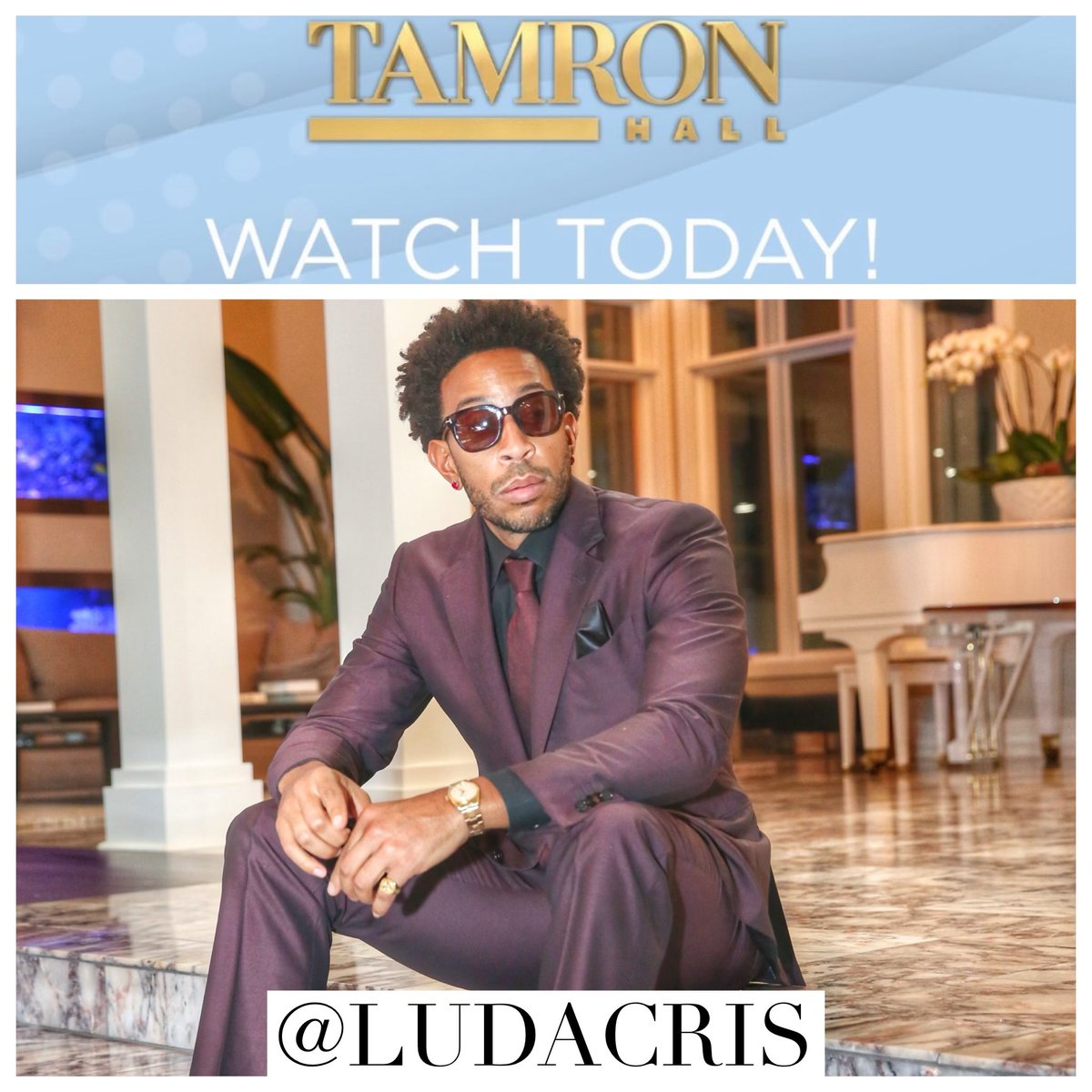 TODAY at 3 p.m. EST tune into The @TamronHallShow! I will be on there talking about #LudaCantCook which streams on 2/25 on @discoveryplus! Also it's my wife's TV debut!