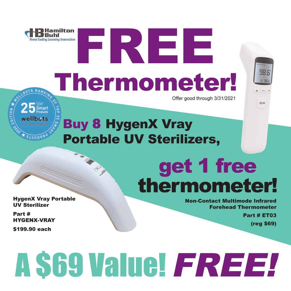 Get a FREE Non-Contact Forehead Thermometer with the purchase of 8 HygenX Vray Portable UV Sterilizers ($69 value). Check out this offer online at https://t.co/MpAaabsm6o https://t.co/qN0tDxcfnm