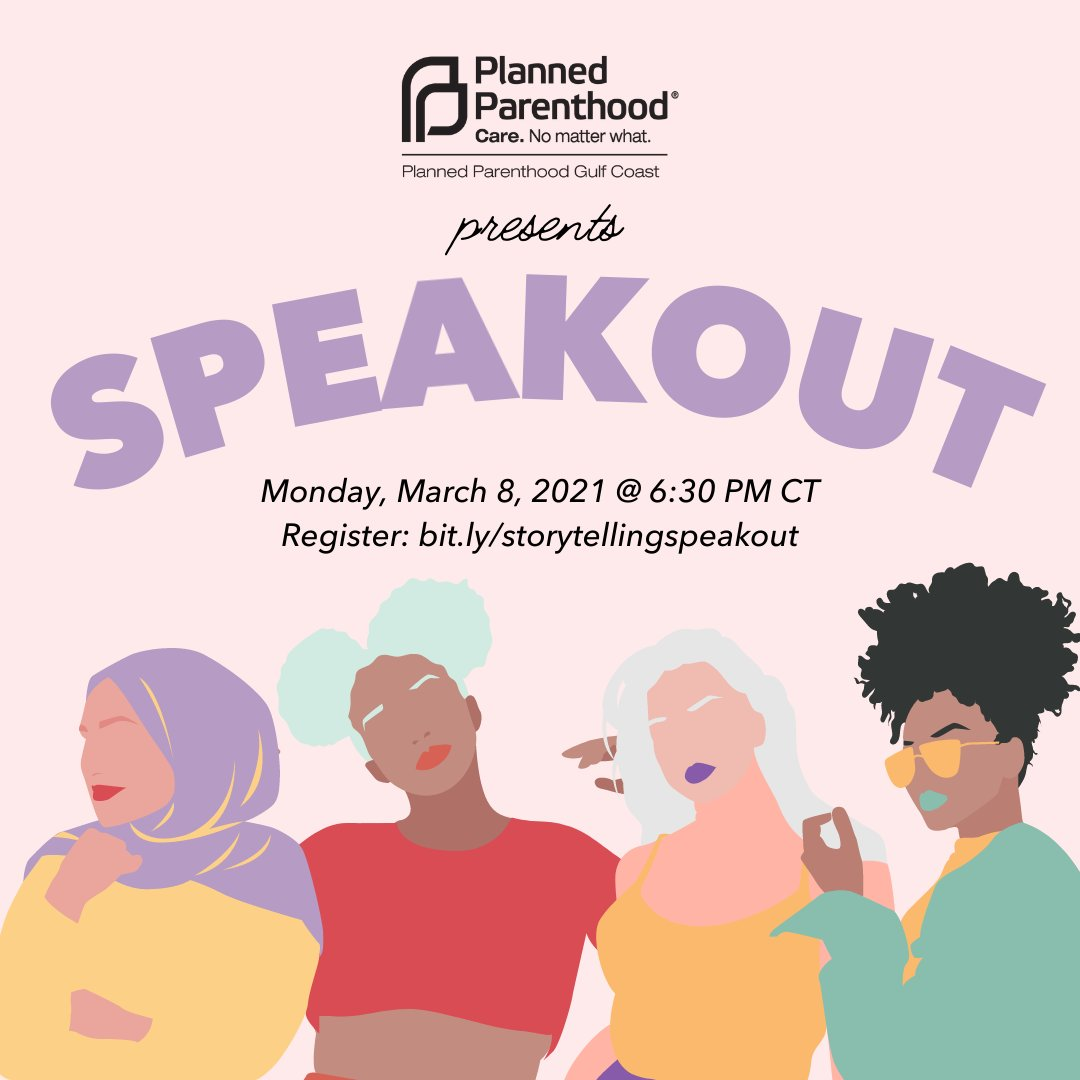 Join us on 3/8 @ 6:30pmCT for a Storytelling Speakout! You'll hear powerful stories from those who support PP & why– from reproductive health care to education to advocacy. Each will highlight the importance of bodily autonomy & more. Register today at .🗣️
