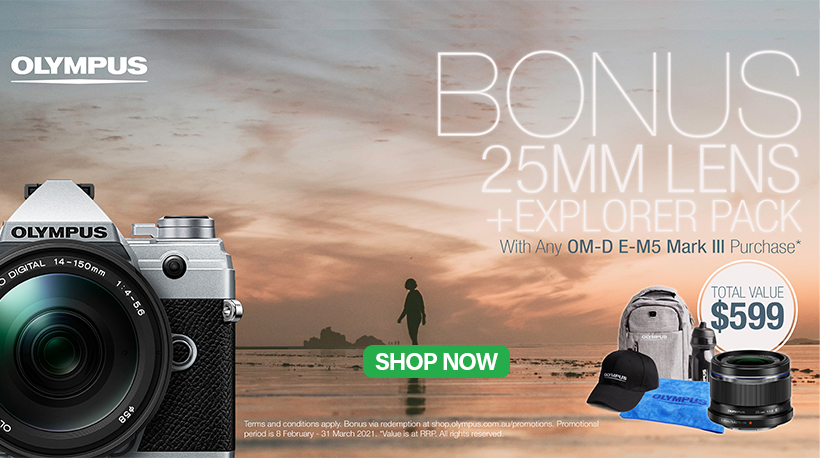 Purchase an Olympus OM-D E-M5 III Camera and Receive BONUS 25mm F1.8 Lens + Explorer Pack, valued at $599.   Shop Today! https://t.co/gCICigBKJz   @Olympus_AU #olympus #Sales #promo #photography #videography #BONUS https://t.co/KeI9lSr8q5