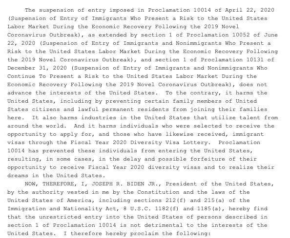 Replying to @priscialva: Biden has revoked one of the Covid-related immigration bans issued under Trump: