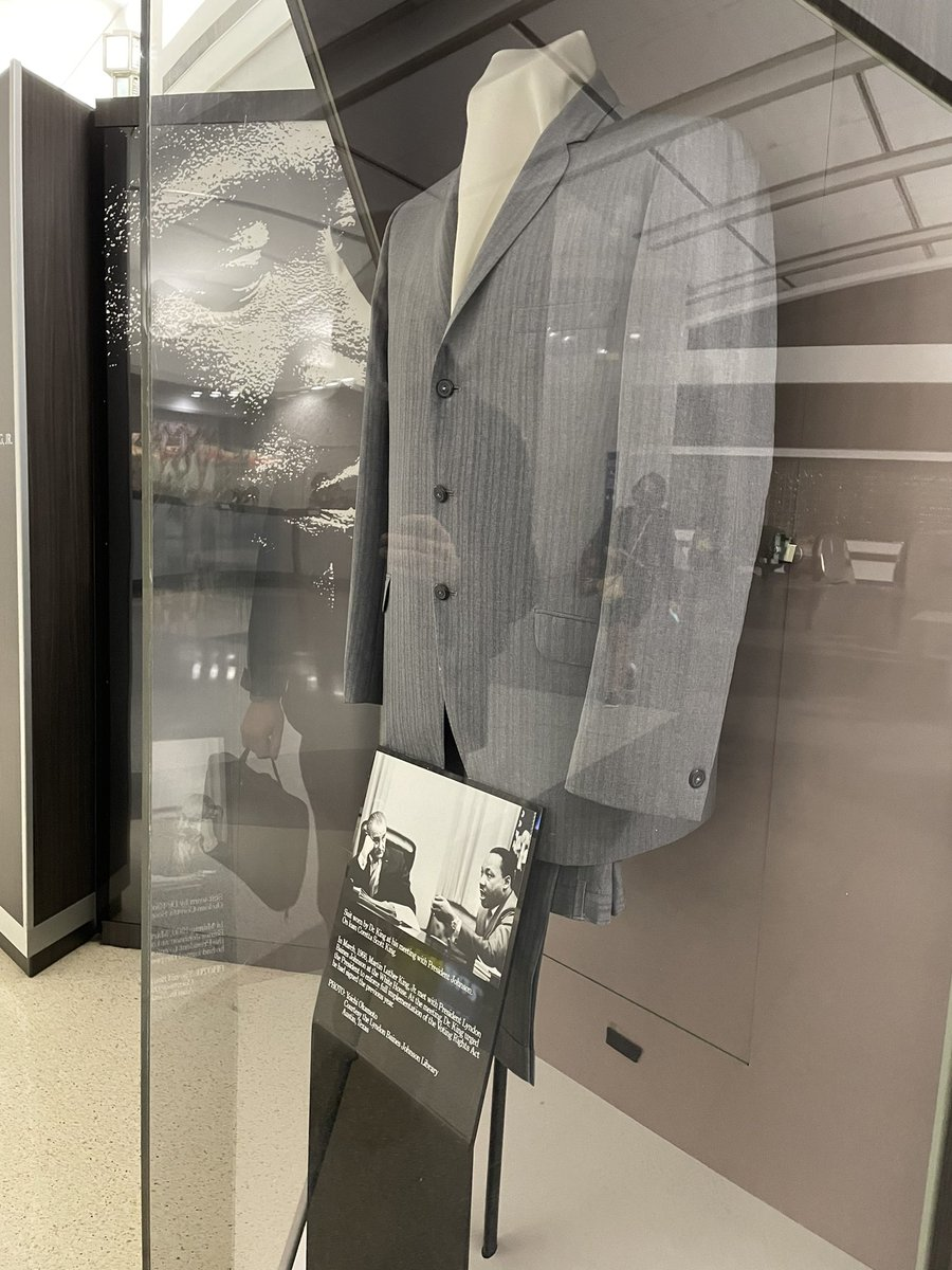 Photo Description: Suit worn by Dr. King at his meeting with President Lyndon B. Johnson, in March 1966. On loan from Coretta Scott King. . . . #ATLAirportArt, #MartinLutherKing