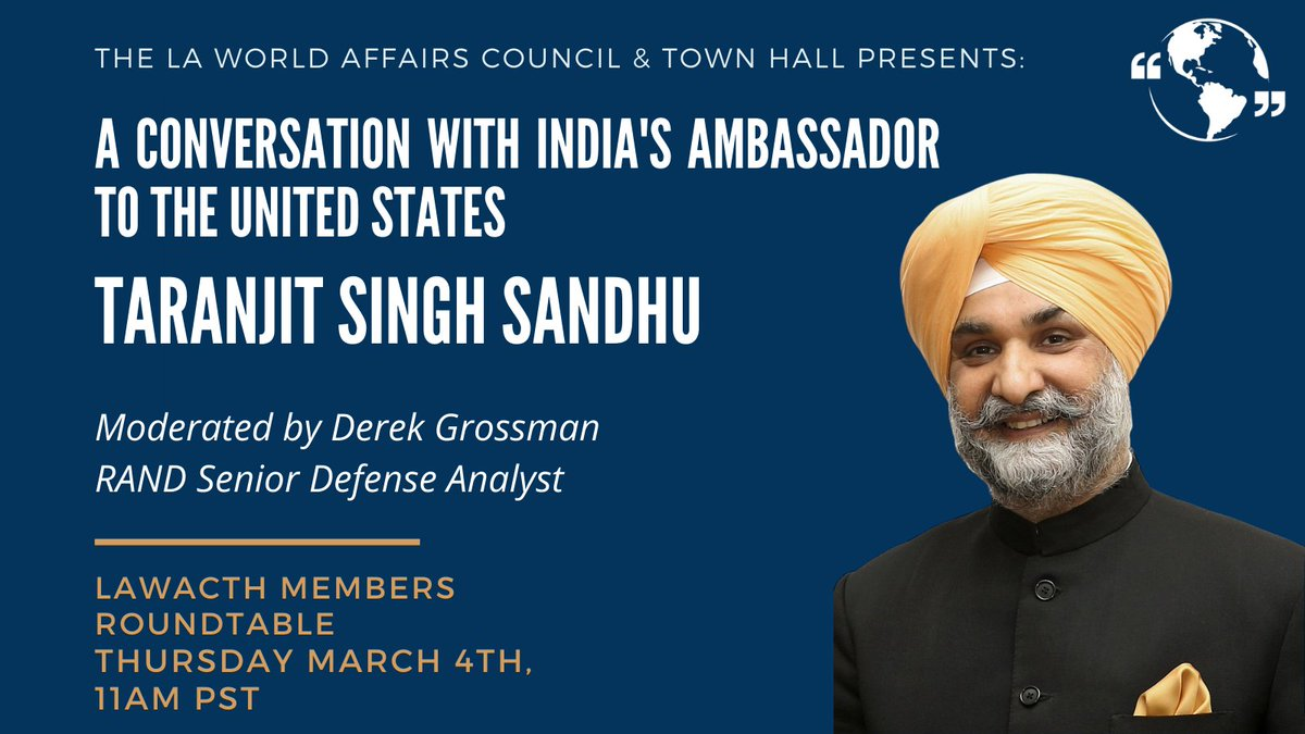 """India has become """"the world's pharmacy,"""" raising ?'s about how India & the US can work together during & beyond the pandemic. Join @SandhuTaranjitS, India's ambassador to the U.S., and @DerekJGrossman in conversation about this on Mar. 4. Register here!"""