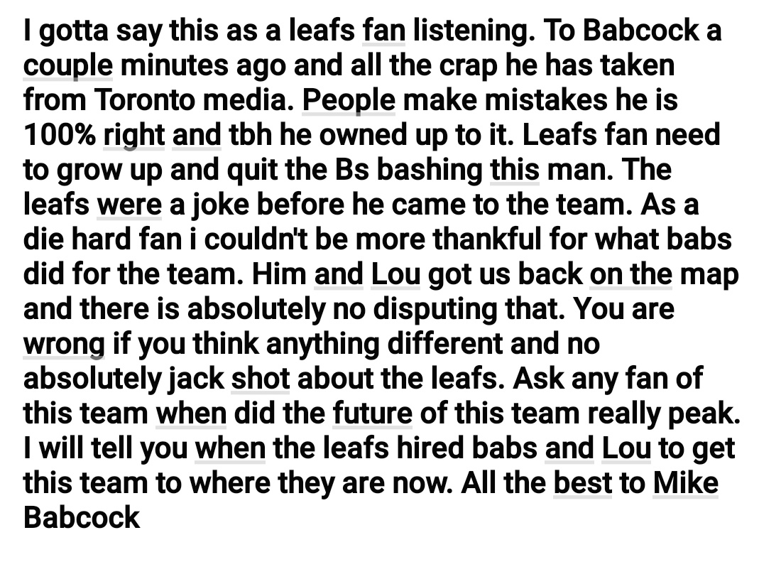 My opinion on Mike Babcock https://t.co/3pQbNikLkg