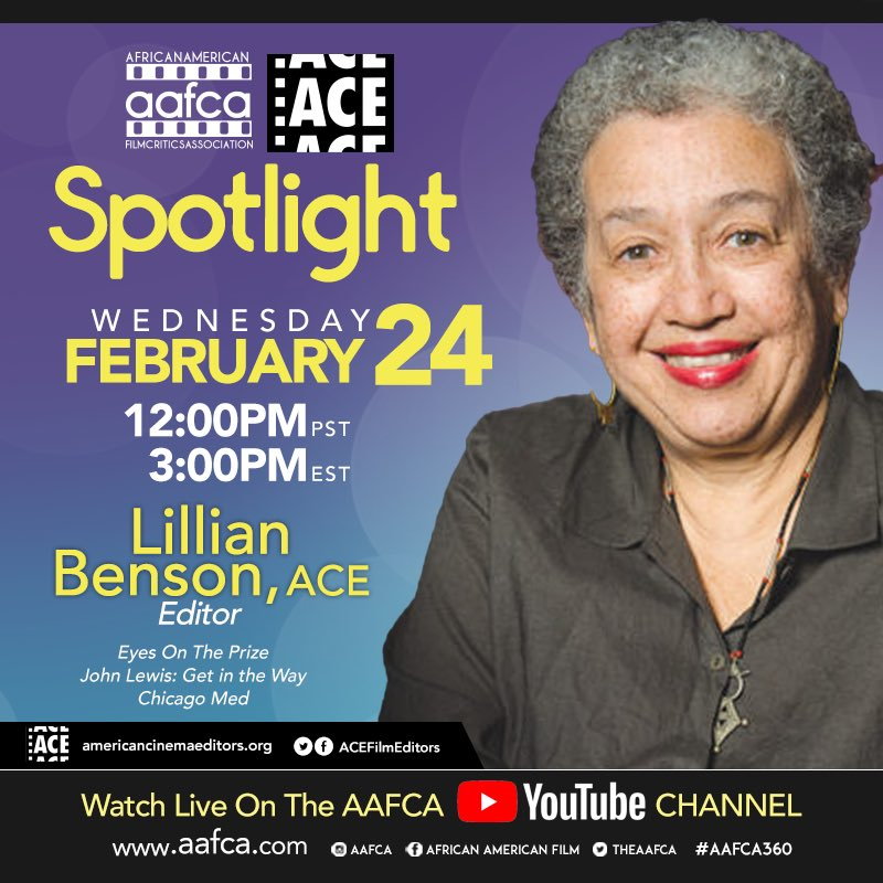 You are in for a treat today with our latest #AAFCA Spotlight discussion with film and television editor #LillianBenson ACE. Make sure you're subscribed to our YouTube channel to watch at 3PM EST